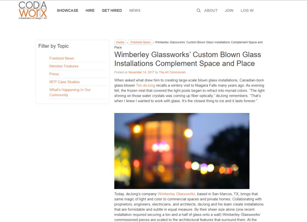Wimberely Glass CODAworx snip