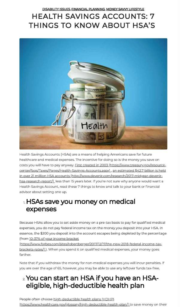 HSA article by Strong Suit