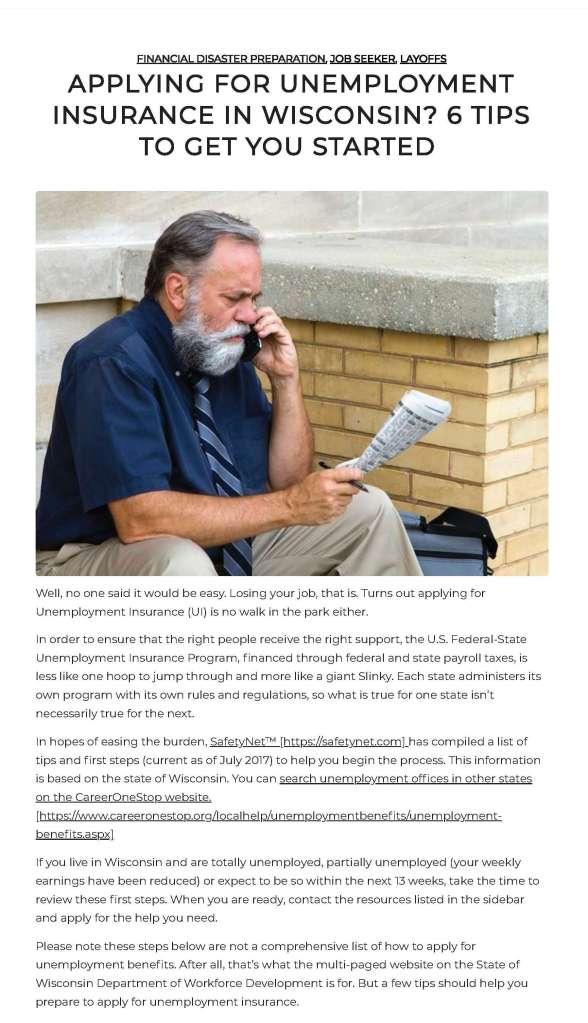 Unemployment in Wisconsin post